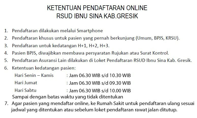 Ketentuan Pendaftaran Online RSUD Ibnu Sina Kab Gresik