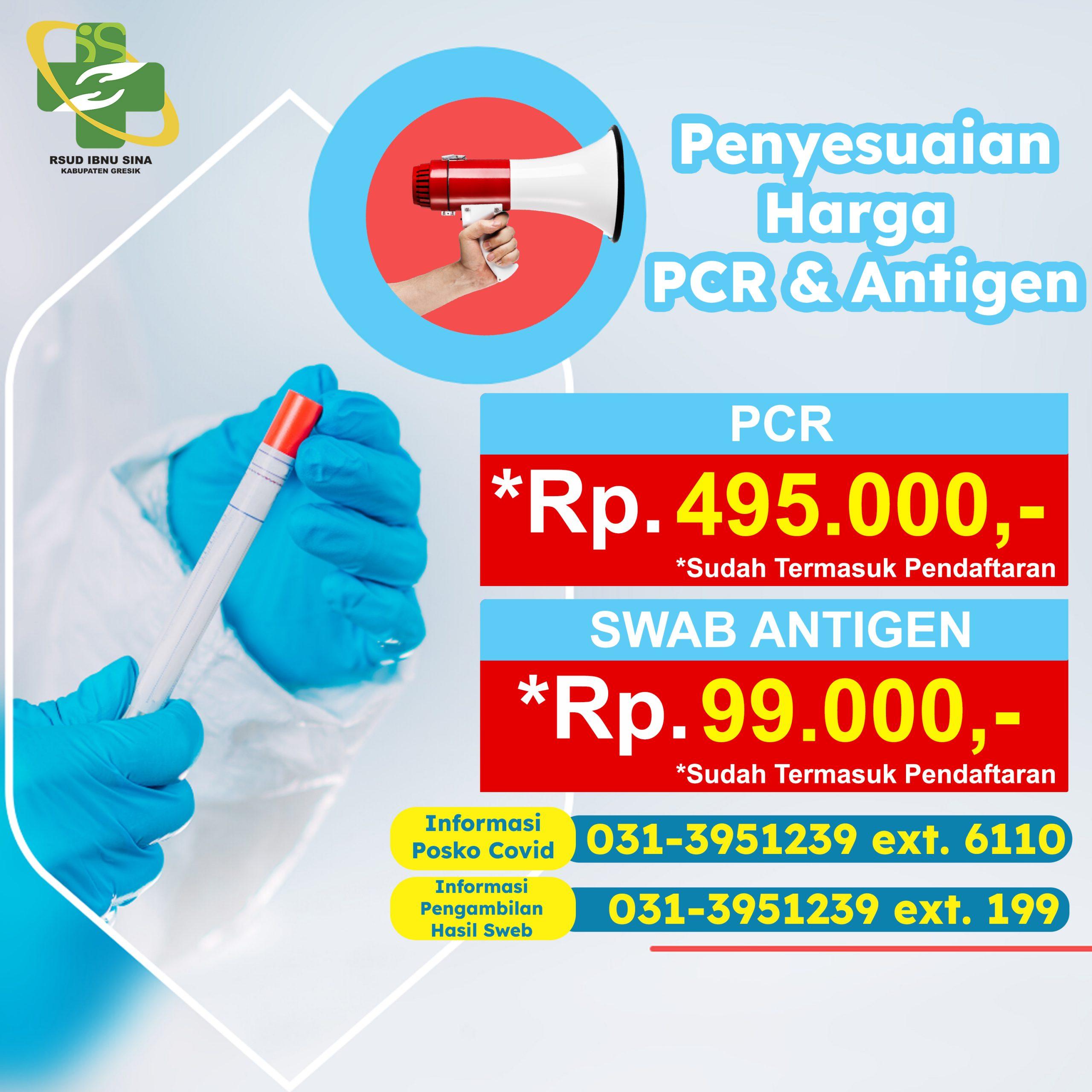 Harga Penyesuaian PCR & Antigen